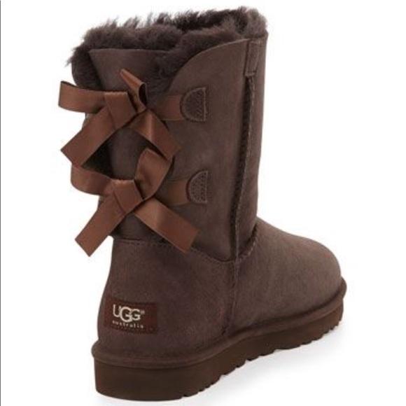 ugg shoes bailey bow short boot s chocolate brown poshmark rh poshmark com